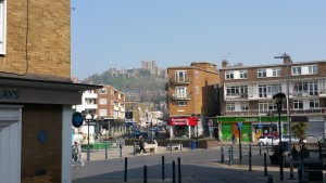 The Dover castle in the distance. Its closed during the winter unfortunately.